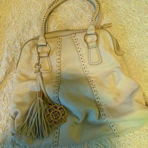 Large White Leather Studded Bag
